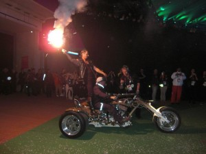 The Snake Trike, about to go on stage at the London 2012 Paralympics