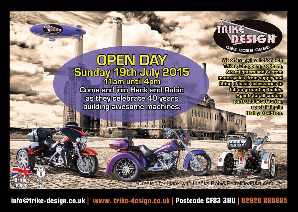 Trike Design Cardiff Open Day. Come along and bring your mates with you, lots of things to do