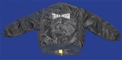 Description: Bomber Jacket - Hankschopshop logo on front, trike design logo on back