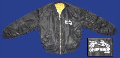 Description: Bomber Jacket - Hankschopshop logo on front, trike design logo on back